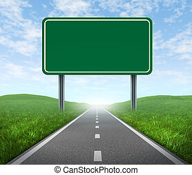 Road with highway sign - Road with blank highway sign with...