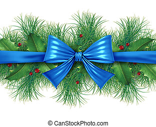 blue bow with pine border - Blue silk bow with pine border...