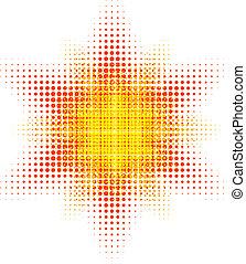 Halftone sun. - Orange halftone sun. Vector illustration. .