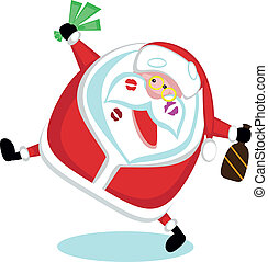 Singing Santa with lipstick marks, money and bottle . Vector...