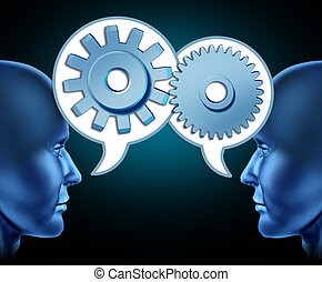 Referral exchange - Two human heads sharing referrals to...