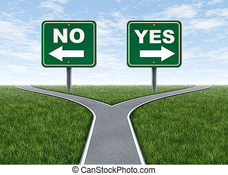 Yes or no decision symbol represented by a forked road with...