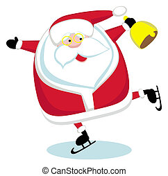 Santa with bell skating. Vector