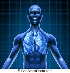 Human respiratory system represented by a blue human figure...