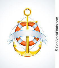 anchor and life buoy with ribbon vector illustration