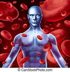 Human blood circulation symbol with red blood cells flowing...