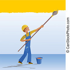 Cartoon house painter - The decorator paints a wall with a...