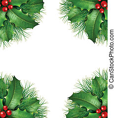 Holly with pine branches seasonal border frame