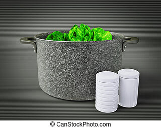 pan - black pan with a cabbage inside. Isolated.