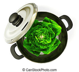cabbage - black pan with a cabbage inside. Isolated.