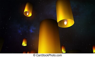 Launching sky lanterns