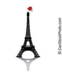 Eiffel Tower with Red Winter Hat
