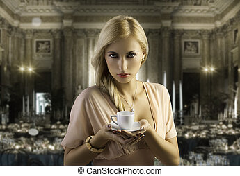 blond sensual woman with a coffee cup