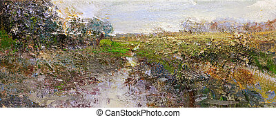 landscape painting - landscape in lower saxony - hand...