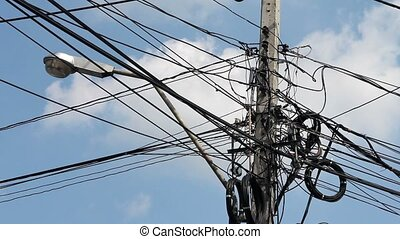 Messy electric cables in thailand