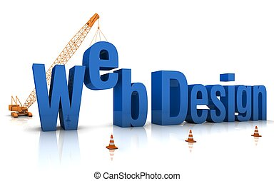Web Design - Construction site crane building Web Design 3D...