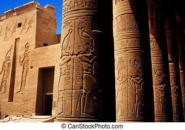 Temple of Philae, Egypt - Hieroglyphics outside Temple of...