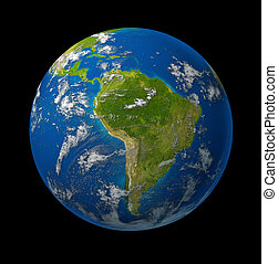 South America earth globe planet on black space background...