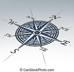 Compass rose in perspective on white background