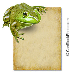 Frog with blank grunge old paper sign representing an...