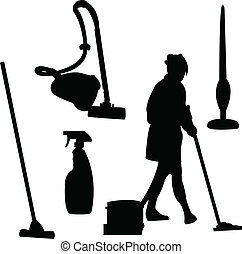 cleaner silhouette - Illustration of cleaner silhouette -...