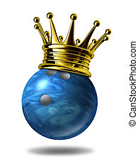Bowling king champion with gold crown - Bowling king...