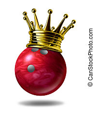 Bowling king champion symbol represented by a golden crown...