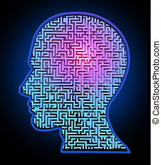 Human intelligence puzzle represented by a blue glowing maze...