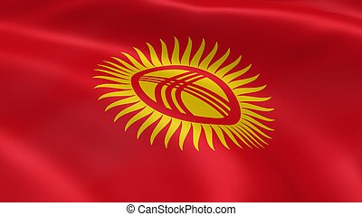 Kyrgyzstani flag in the wind