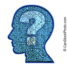 Human brain research and intelligence puzzle with a blue...
