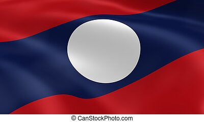 Laotian flag in the wind.