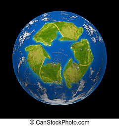 Global change and Earth climate symbol represented by a...
