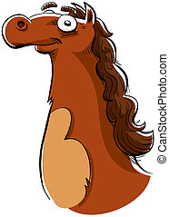 Brown Horse - A happy, brown cartoon horse grinning.