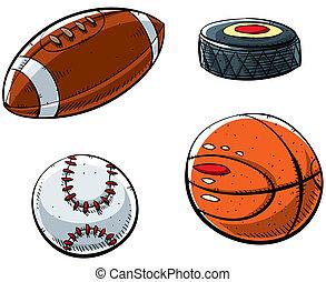 Sports Balls - Cartoon sports set with football, hockey...