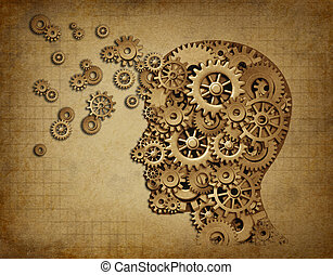 Human brain function grunge with gears - Human intelligence...