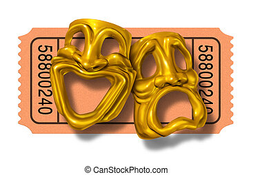 Movie ticket stub with gold comedy and tragedy masks symbol...