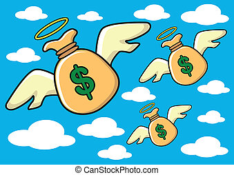flying money - illustration of flying money