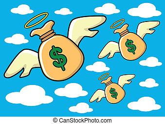 flying money - illustration of flying money