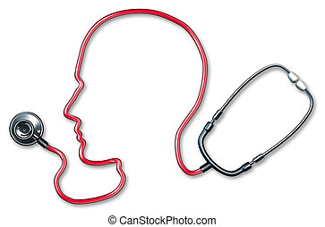 Human brain health - Human Mental health with a red cord...