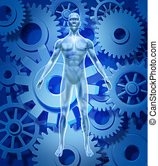 Human health and biology symbol showing a figure with gears...