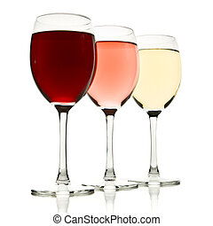 three wine glasses - three glasses with white, rose and red...