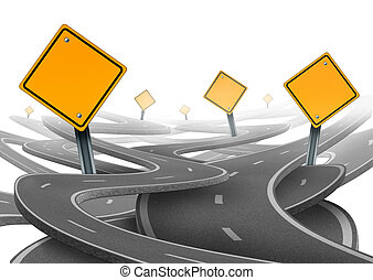 Stay on course symbol representing dilemma and concept of...