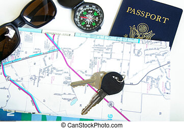 Travel concept - sunglasses, map, passport, compass etc
