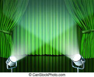 Spotlights on green velvet cinema curtains - Theater stage...