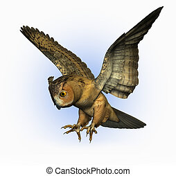 3D render of an Eagle Owl Swooping Down - side view. - 3D...