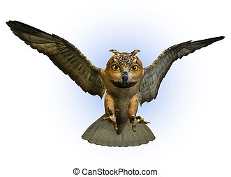 3D render of an Eagle Owl swooping down.