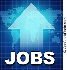 Employment and new jobs symbol represented by text and a...
