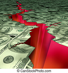 Financial disaster and economic earthquake symbol and...