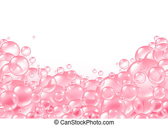 Pink Bubbles frame - Pink bubbles frame and transparent bath...