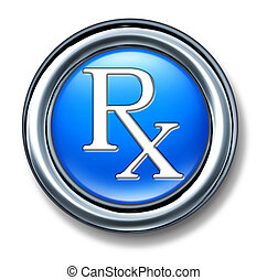 Prescription rx blue button for a pharmacist symbol and...